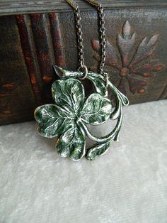 FOUR LEAF CLOVER - shamrock, St. Patrick's Day, Irish necklace by Changing Seasons. $18.00, via Etsy.