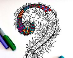 Number 7 Zentangle  Inspired by the font