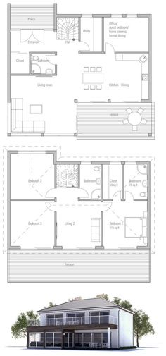 Small house plan with spacious living areas. Three bedrooms and two living areas