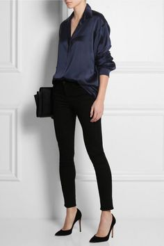 Oversized silk-satin shirt, tee by Alexander Wang, high-rise skinny jeans, Gianvito Rossi Camnero suede pumps & Maison Martin Margiela leather shoulder bag Blue Blouse Outfit, Blue Shirt Outfits, Bluse Outfit, Navy Blue Blouse, Navy Blue Shirts, Casual Outfits, Fashion Outfits, Navy Blue Outfits, Black Silk Shirt