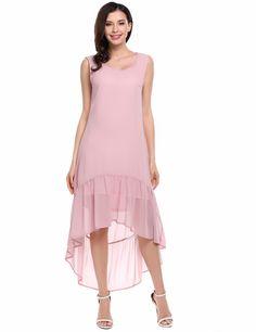 Black Sleeveless Solid High Low Ruffles Hem Casual Dress