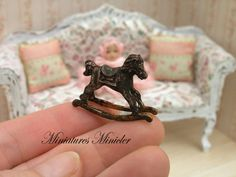 Miniature Dollhouse Rocking Horse 150 by Minicler on Etsy