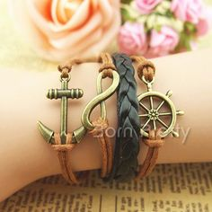 Anchor Infinite Love Leather Rope Hand Knitting Accessories