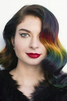 We're Obsessed With This Brunette-Approved Rainbow Ombré Trend Stacked Bob Hairstyles, Curly Bob Hairstyles, Curly Hair Styles, Pixie Haircuts, Medium Hairstyles, Braided Hairstyles, Wedding Hairstyles, Ombre Bob Hair, Ombre Hair Color