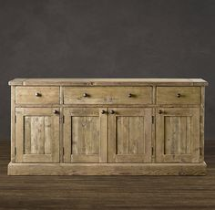 Perfect for all my serveware and linens. Salvaged wood sideboard. Restoration Hardware.