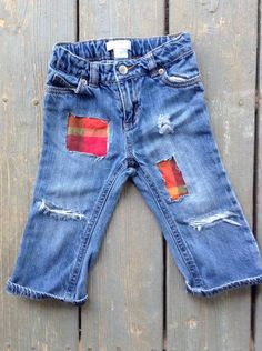 Unisex Girls Boys Distressed Jeans Red, Teal, Fall Orange & Purple 4 Options Patchwork Toddler Distressed Denim Kids Trending Jeans by MountainMadeDenim on Etsy