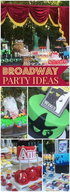 This party features Broadway kid's shows like Annie, Wicked and more! - This party features Broadway kid's shows like Annie, Wicked and more! See more party ideas at Cat - Broadway Theme, Broadway Shows, Broadway Wedding, 18th Birthday Party, Birthday Party Themes, Birthday Kids, Birthday Crafts, Birthday Celebration, Wicked