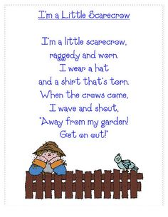 Classroom Freebies: Scarecrow Poem Will use this for our fall fun activities--snipping practice for the fence, right/left placement Preschool Poems, Preschool Music, Kids Poems, Children Songs, Thanksgiving Preschool, Fall Preschool, Thanksgiving Songs, Preschool Class, Preschool Lessons