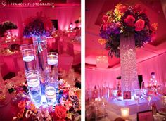 very pretty centerpieces with the pink-lighted background