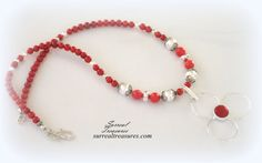 RED CORAL FLOWER Necklace Sterling silver Red by SurrealTreasures