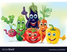 Cartoon company vegetables vector image on VectorStock Drawing For Kids, Art For Kids, Vegetable Pictures, Fruit Icons, Alphabet Images, Pumpkin Vector, Celebration Background, Topper, Beach Kids