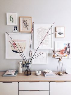 Holly Becker's Minted.com art wall. Reminder that an arrangement doesn't have to follow a straight horizontal!