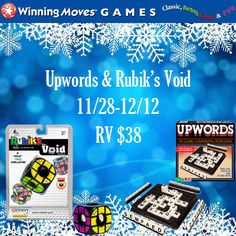 Enter for your chance to #win two great games in the Winning Moves Holiday #Giveaway! One lucky winner will win both Classic Upwords & Rubik's Void games! RV $38. Ends December 12.
