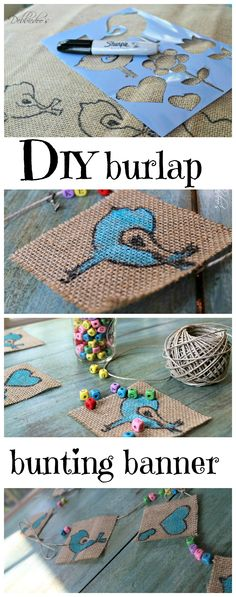 diy bunting banner with a could I decorate burlap drapes this way.or reupholster something in burlap after stenciling? Burlap Drapes, Burlap Bunting, Bunting Banner, Buntings, Banners, Burlap Garland, Burlap Bags, Burlap Projects, Diy Projects To Try