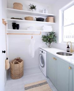 Browse laundry room ideas and decor inspiration for small spaces. Custom laundry rooms and closets, including utility room organization & storage ideas. Laundry Room Design, Laundry In Bathroom, Modern Laundry Rooms, Laundry Decor, Basement Laundry, Modern Room, Laundry Basket, Laundry Room Small, Laundry Room Colors