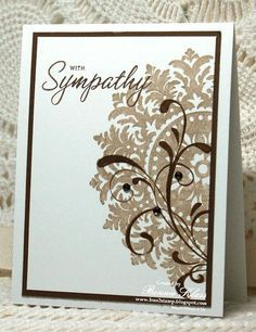 handmade sympathy card ... one layer with just a small edge from a darker card stock ... luv how the flourish is stamped over the large flourish ... Stampin' Up!