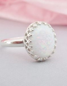 Sterling Silver Opal Ring, White Opal , Simulated Opal Ring, Cabochon, Stone Rings, Opal Jewelry, October Birthstone Jewelry on Etsy, $51.69 CAD
