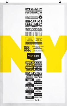 Cartel NY. Identidad visual para la gala gastronómica La Vittoria. Lg2boutique, 2011.