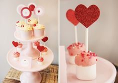 Cute treats at a  Valentine's Day Party.  See more party ideas at CatchMyParty.com.  #tvalentinespartyideas