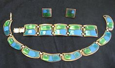 Vintage Kay Denning Blue/Green Enamel Neckace Bracelet Earrings Set