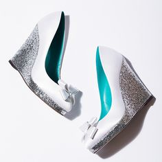 Customize heel height! White silk and silver glitter wedge.