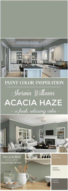 Delightful Paint Color Inspiration: Sherwin Williams Acacia Green For Walls.