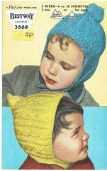 Bestway 3668 baby bonnets vintage knitting pattern