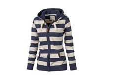 AS59 Spring Autumn New Fashion Female Sweatshirt  Striped Hoodies Women's Long-Sleeve Hooded Casual Pullovers