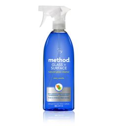 Method Glass + Surface Cleaner. Made with naturally derived, non-toxic ingredients. And works really well.