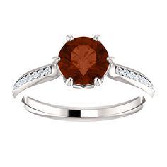 10kt White Gold 6.5mm Center Round Garnet and 28 Accent Genuine Diamonds Engagement Ring...(ST122114:179:P).! Price: $599.99 #diamonds #ring #gold #garnetring #fashionring #jewelry