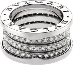 Bvlgari B.zero1 Four-Band 18kt White-Gold and Diamond Ring
