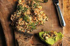 Crab, avocado, shrimp. Photographed by Romas Foord