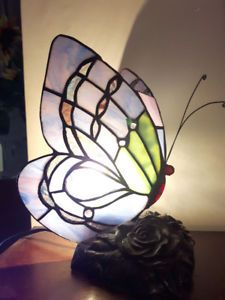 Tiffany Style Stained Glass Butterfly Accent Lamp - Resin Base
