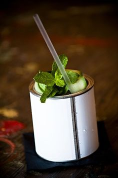Graphic Bar - drinks served in paint tins