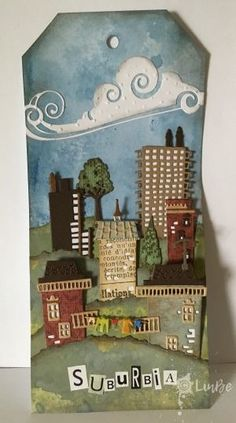 Cityscape Suburbia tag. Die set from Tim Holtz. Country scene on rolling hills. #Tim Holtz Cityscape. #Suburbia