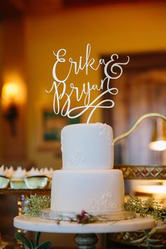 wedding cake topper in a fun, swirly font
