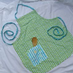 Lime Green, Turquoise & White Reversible Chef's Apron by TurtleFishCreations on Etsy