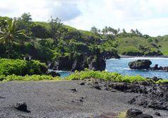 """A black-sand beach on the road to Hana, Maui."" (From: 30 Beautiful Photos of the Hawaiian Islands)"
