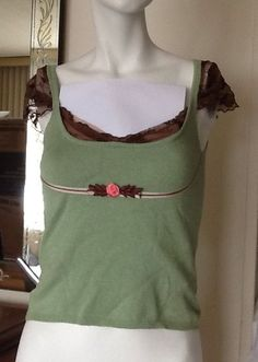 Cashmere Silk Green Sleeveless Brown Lace Trim Sleeveless Top Size XS Pink Trim #Unbranded #Blouse #Casual