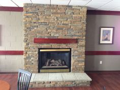 Stoned Fireplace with Hearth and Box Mantle Fawn River Laytite J&N Stone