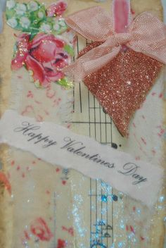 Red glitter heart on Valentines collage
