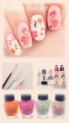 Flamingo Nail Art Design. Check out our blog to see the tutorial! https://nailbees.com/flamingo-nail-art
