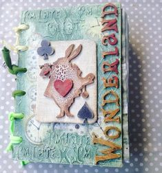 By Anna Emelia Howlett of Rosehartstudio. Powertex tutor and design team. Mixed media artist, mixed media art, assemblage art, powertex, powerwax, upcycle canvas, junk canvas, recycled art, alice in wonderland. wonderland journal. alice journal
