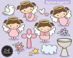 Bautizo Angel Papel Digital Instant por CraftEstudioDigital en Etsy