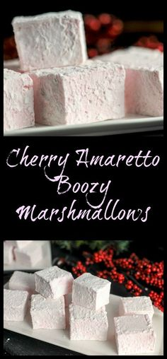 Cherry Amaretto Boozy Marshmallows - Dessert, recipe, alcohol, cherry liqueur, t. Brownie Desserts, Oreo Dessert, Mini Desserts, Grill Dessert, Marshmallow Desserts, Flavored Marshmallows, Coconut Dessert, Marshmallow Fondant, Recipes With Marshmallows