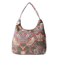 Signare Womens Tapestry Fashion Shoulder Bag/ Hobo Bag in William Morris Strawberry Thief Red Design
