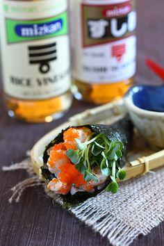 Hand Roll (Temaki) - uses Mizkan Rice Vinegar and Mizkan Sushi Seasoning for the rice.