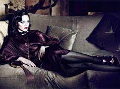 Marion Cotillard - sofa, heels, 2017, model, Cotillard, beautiful, stockings, actress, Marion Cotillard, wallpaper, Marion, singer, dress
