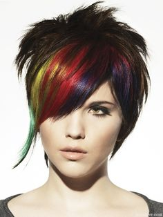 """Dark hair with rainbow highlights, side swoop, eyeliner around eyes, (add piercings).  Emo girl look for the Anime Emo Punk Tech Movement of 2054 in book series, """"The Biodome Chronicles""""  by Jesikah Sundin (see board for """"Legacy"""", """"Elements"""" and """"Gamemaster"""")"""