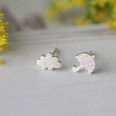 Sterling Silver Cloud And Umbrella Studs